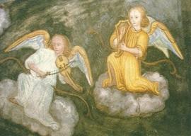 Musicerende engelen, wandschildering 16de eeuw