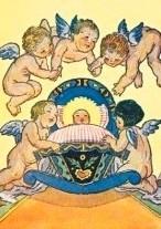 Kind met engelen, oude prentbriefkaart