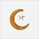 Houten maan met kristal als ster (8,5cm)