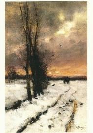 Sneeuwlandschap bij ondergaande zon, Anton Mauve