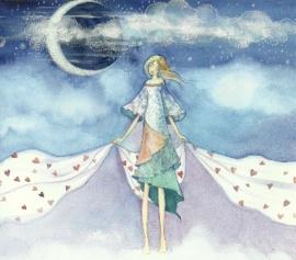 Vrouw zweeft over de wolken bij nachtelijke hemel, Kristiana Heinemann