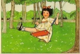 Meisje op schommel, Rie Cramer