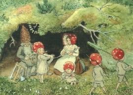 Kabouterkinderen wikkelen wol, Elsa Beskow