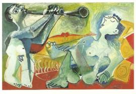 Slapend naakt met fluitspeler, Pablo Picasso