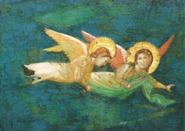 Twee zwevende engelen (detail), School van Giotto