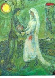 Verloofden op groene grond, Marc Chagall