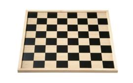Schaak- en dambord met houten rand ( 40x40 cm)