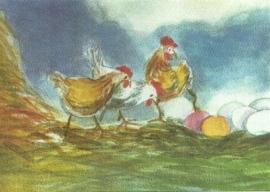 Kippen met paaseieren, Johanna Schneider