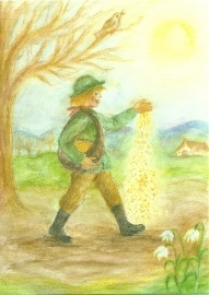 Maart, de zaaier, maandkaart Ilona Bock