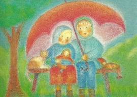 Ruth en Hans onder paraplu, Ruth Elsässer