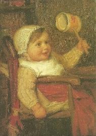 Klein kind met rammelaar, Albert Anker