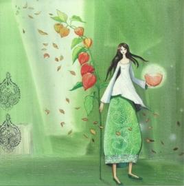 Vrouw met lampionplant, Kristiana Heinemann