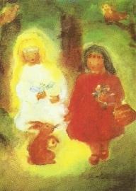 Sneeuwwit en Rozerood met haas, Dorothea Schmidt