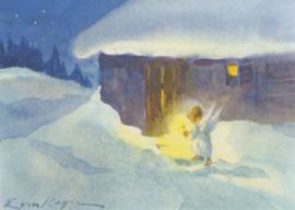 Engel stapt door de sneeuw in schijnsel kaars, Erica von Kager