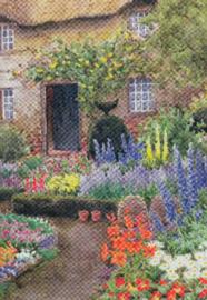 Landelijke tuin in volle bloei, John Henry Garlick