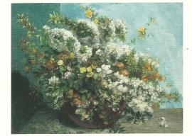Bloesemtakken en bloemen, Gustave Courbet
