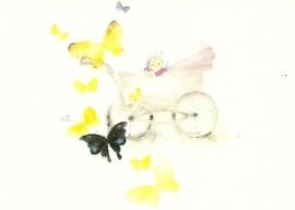 Vlinders en baby in kinderwagen, Chihiro Iwasaki