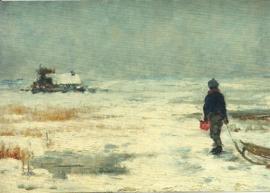 Jongen met slee in winterlandschap, Franz Marc