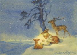 Engel met twee reeën en een hert, Erica von Kager
