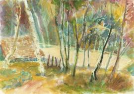 Groep bomen bij meertje, Christine Thomas