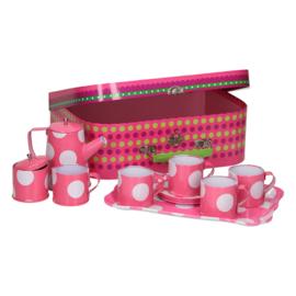 Blikken theeservies in koffer, roze met witte stippen