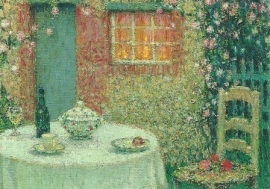 Gedekte tafel voor met rozen begroeid huis, Henri le Sidaner
