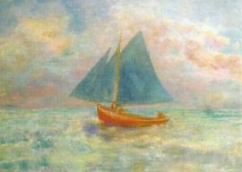 Rode boot met blauw zeil, Odilon Redon