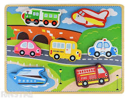 Houten puzzel New classic toys Transport puzzle ( 24 mnd. +)