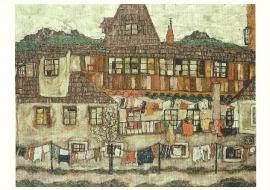 Huis met drogende was, Egon Schiele