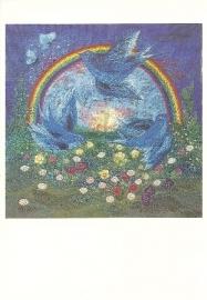 Geluksvogels bij regenboog, Diana M. Khan