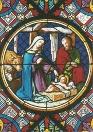 Geboorte Christus, glasvenster in Munster van Bazel