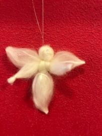 Engel van lontwol met zijde, klein ( 9 cm)