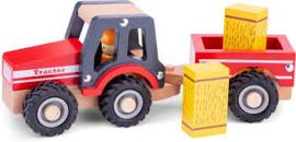 Tractor met aanhanger en speelfiguren - hooiwagen
