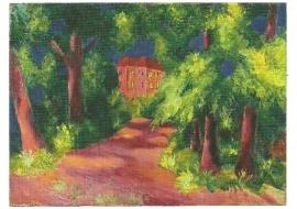 Rood huis in park, August Macke