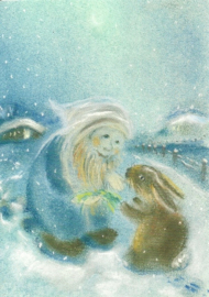 Dwerg met haas in de winter, Sabine Reinink