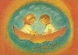 Ruth en Hans in boot, Ruth Elsässer