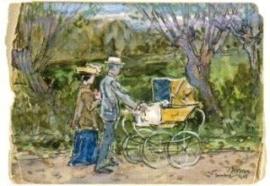 Paul en Mies Elout-Drabbe achter de kinderwagen, Jan Toorop