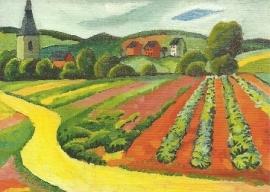 Landschap met kerk en weg, August Macke
