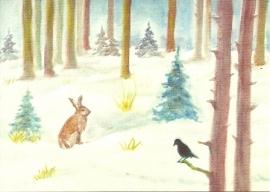 Winterbos, haas en vogel, Erika Hoffmann