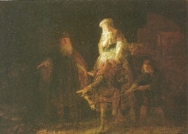 Abraham stuurt Hagar en Ismael weg, Rembrandt