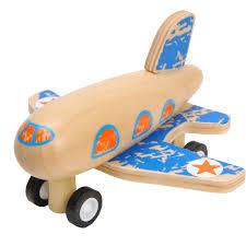 Houten vliegtuigje , pull back, blauw