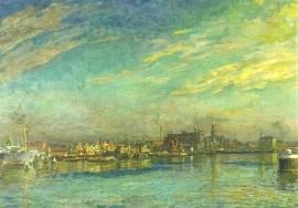 Zicht op de haven Zaandam, Willem Jansen