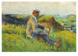 Kandinsky bij schilderen in het landschap, Gabriele Münter