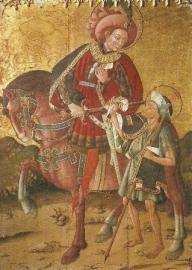 Sint Maarten deelt zijn mantel, Gotische schildering, XV eeuw