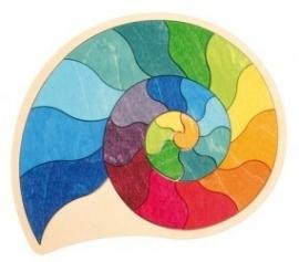 houten schelp regenboogkleurig