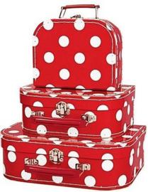 Koffertje  rood met witte stippen (25x18x8)