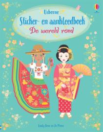 Sticker en aankleedboek de wereld rond