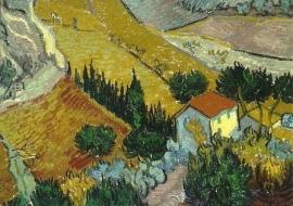 Landschap met een huis en een ploeger, Vincent van Gogh