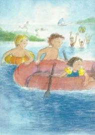 Varen in opblaasboot, Johanna Schneider