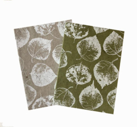 Olino Paperworks, Notebook met bodhi leaf print softcover, kraft/wit